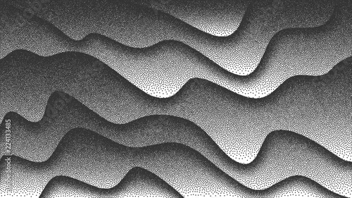Fotografia, Obraz  3D Abstract Vector Smooth Liquid Curved Lines Retro Style Dotwork Background