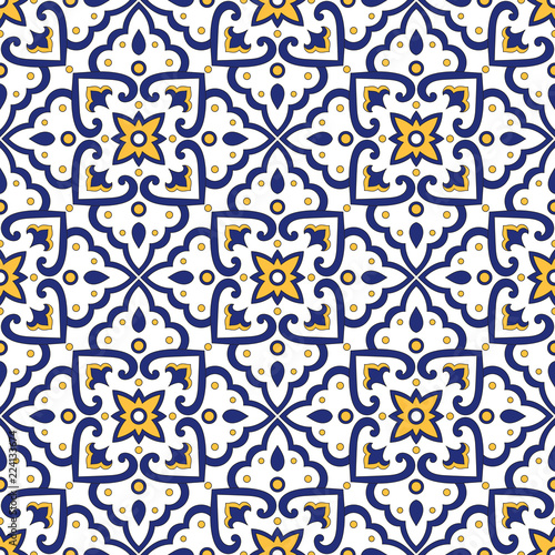 Fotografie, Obraz  Italian tile pattern vector seamless with vintage ornaments