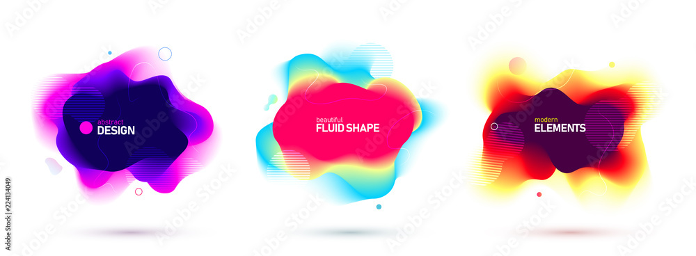 Fototapety, obrazy: Set of liquid color abstract geometric shapes. Fluid gradient elements for minimal banner, logo, social post. Futuristic trendy dynamic elements. Abstract background. Eps10 vector.