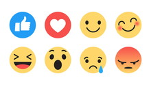 Vector Emoji Set With Different Reactions For Social Network Isolated On White Background. Modern Emoticons Collection In Flat Style Design