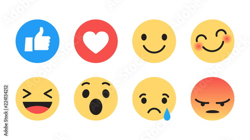 Fotografie, Obraz  Vector Emoji Set with Different Reactions for Social Network Isolated on White Background