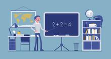 Male Teacher Stands At The Blackboard