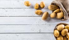 Ripe Potatoes In Burlap Sack F...