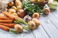 Potatoes Onion Carrot Celery Kohlrabi And Garlic.