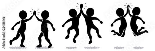 Valokuva  Sammlung/Set: Schwarz-weiße Figuren beim High-Five – Vektor / Flat Design