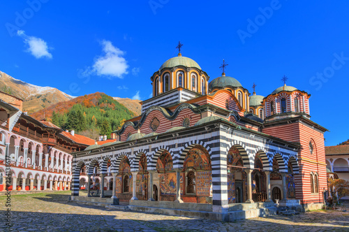 Obraz na płótnie Beautiful view of the Orthodox Rila Monastery, a famous tourist attraction and c