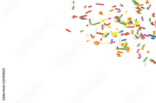 candy sprinkles confetti on white background Wallpaper Mural