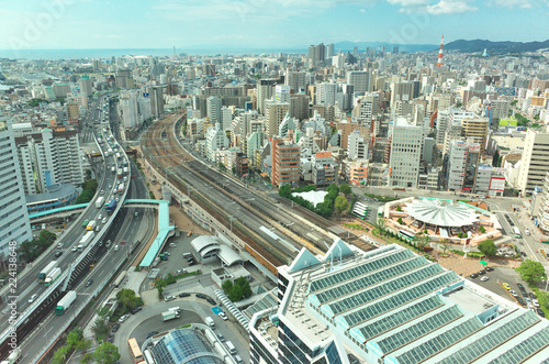 Photo Stands Train Station 上空から見た神戸駅