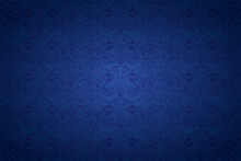 Blue Vintage Background , Royal With Classic Baroque Pattern, Rococo With Darkened Edges Background(card, Invitation, Banner). Horizontal Format