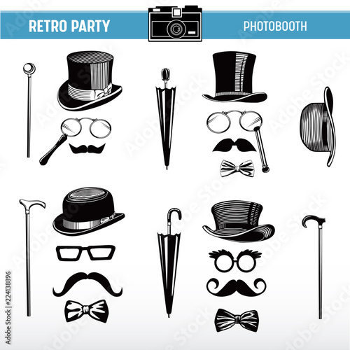 Movember Retro party printable Glasses, Hats, Moustaches