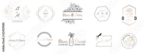 Fototapeta Wedding monogram collection, Modern Minimalistic and Floral templates for Invitation cards, Save the Date, Logo identity for restaurant, boutique, cafe in vector obraz