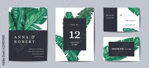Foto  Botanical wedding invitation card Template Design, Tropical Leaves in modern sty