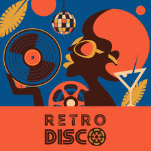 Retro Disco Party. A Colorful Poster, A Poster In A Retro Style.