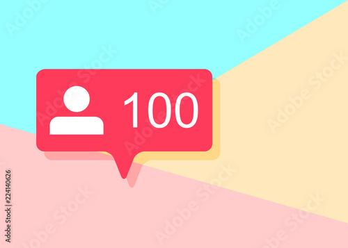 Obraz illustration of flat minimalism pastel colored one hundred like followers social media icon on pink and blue background - fototapety do salonu