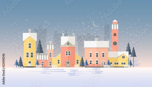 Horizontal winter cityscape with town in snowfall. Landscape with night city street, beautiful old buildings, towers and fir trees covered with snow. Colorful vector illustration in flat style.