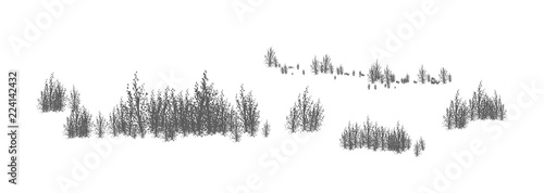Woody landscape with silhouettes of deciduous trees and shrubs Wallpaper Mural
