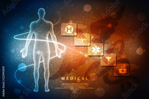 Photo  2d illustration Human Male Muscle Body