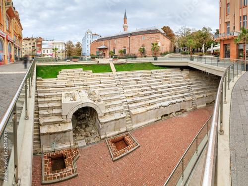 Fotografia  Beautiful cityscape of Plovdiv, Bulgaria, with the sfendona of the Roman Stadium