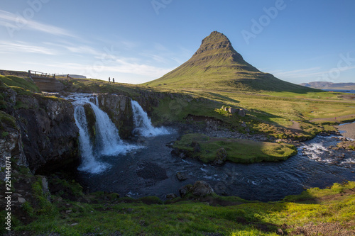 Wall Murals Blue waterfall in iceland in the mountain