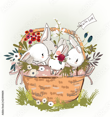 Cute Birthday Hares In Basket