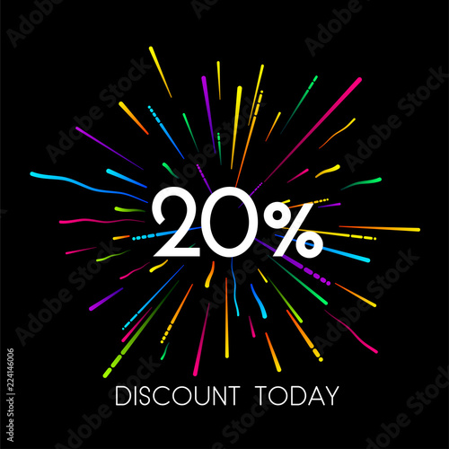 Cuadros en Lienzo Sale 20% discount promo poster with colorful firework.
