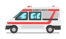 Ambulance Service Car, Emergency Medical Service Vehicle Vector Illustration On A White Background