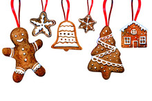 Set Of Gingerbread Cookie Figures Hanging On Red Ribbons. Man, Christmas Tree, Bell, Stars, House. Hand Drawn Watercolor Illustration