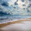 stormy day on sandy beach
