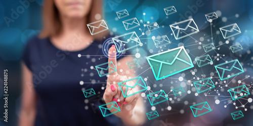 Woman touching an e-mail concept