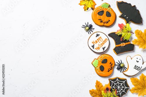 Fotografie, Obraz  Halloween Gingerbread Cookies - pumpkin, ghosts, witch hat, spid