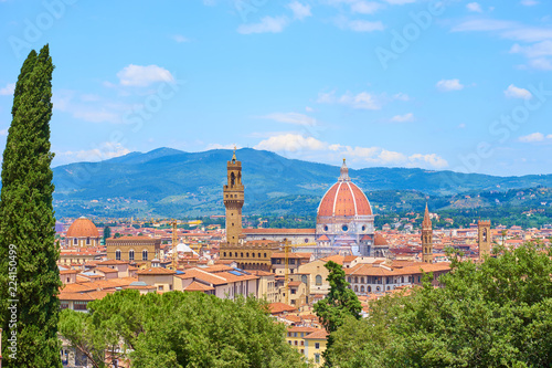 Spoed Foto op Canvas Florence Aerial view of Florence with the Basilica Santa Maria del Fiore (Duomo) and tower of