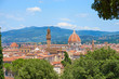 """Aerial view of Florence with the Basilica Santa Maria del Fiore (Duomo) and tower of """"Palazzo Vecchio"""" seen from the """"Bardini Gardens"""", Tuscany, Italy"""