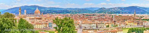 Foto op Plexiglas Florence Aerial view of Florence with the Basilica Santa Maria del Fiore (Duomo) and tower of