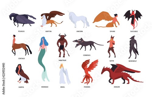 Collection of various magical mythical creatures isolated on white background Fototapete