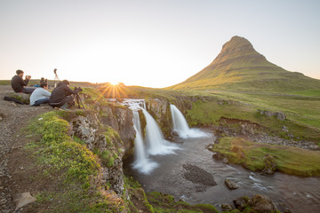 waterfall in iceland in the mountain