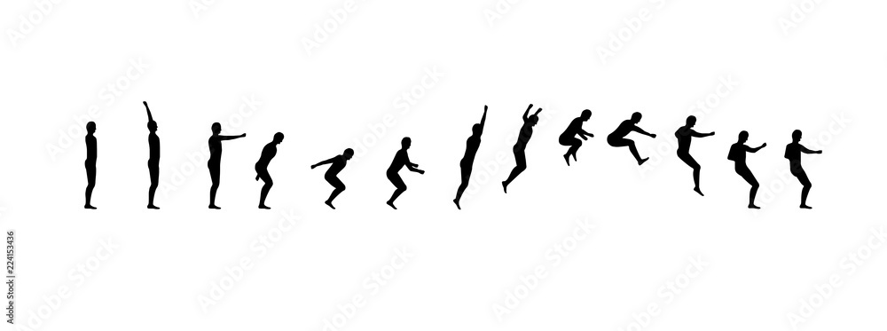 Fototapety, obrazy: Man running and jumping sequence vector illustration frames collection. Acrobatic sport animation shapes