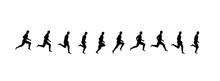 Running Man Sequence, Frames Vector Illustrations. Jumping Sport Animation Symbols