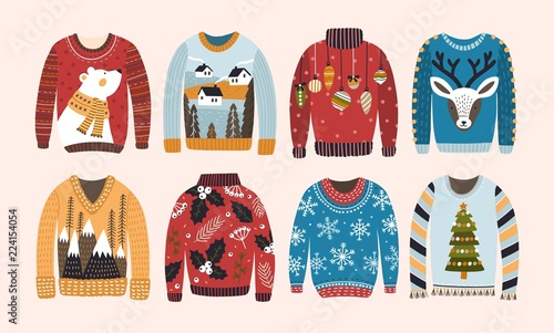 Collection of ugly Christmas sweaters or jumpers isolated on light background фототапет