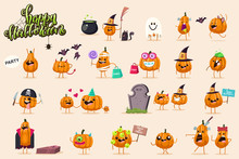 Halloween Funny Pumpkin Character Set. Vector Cartoon Illustration Of A Witch, Pirate, Zombie, Monster, Mummy, Ghost And Vampire Isolated On Background.