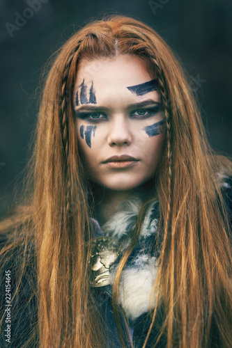Close Up Portrait Of Young Redhead Northern Warrior Woman Leader With War Makeup Beautiful Mighty Viking Warrior Woman With Red Hair And Green Eyes Buy This Stock Photo And Explore Similar