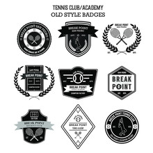 Set Of Vintage Retro Badges And Labels For Tennis Club Or Tennis Academy