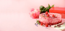 Gift Boxes, Roses, Raspberry Cake With Fresh Berries, Rosemary And Dry Flowers On Pink Background. Banner, Copy Space. Valentine's Day Concept. Present With Love
