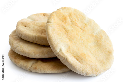 Staande foto Brood A stack of pita breads isolated on white from above.