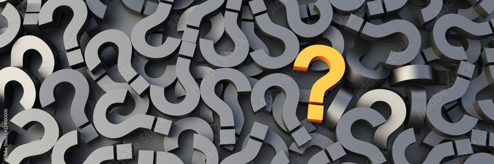 Fototapeta Yellow question mark on a background of black signs. 3D Rendering.