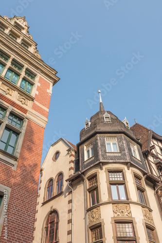 Keuken foto achterwand Oude gebouw Gebäude Fassaden aus der Froschperspektive