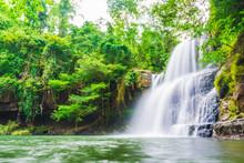 Tropical Deep Forest Klong Chao Waterfall In Koh Kood Island