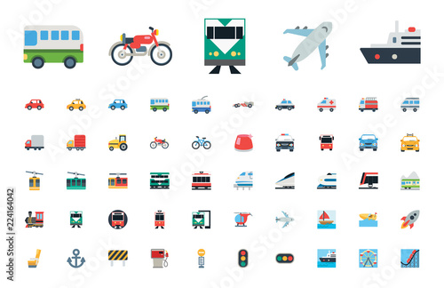 All type of Transport, Transportation, Logistics, Delivery, Shipping, Railway, Airways, Ambulance, Emergency car symbols, emojis, emoticons, flat style vector illustration icons set, collection.
