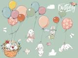 Fototapeta Fototapety na ścianę do pokoju dziecięcego - Little hares collection with balloon