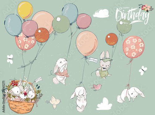 Stampa su Tela Little hares collection with balloon