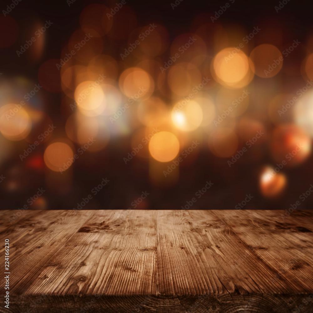 Fototapety, obrazy: Celebratory bokeh background with wooden stage